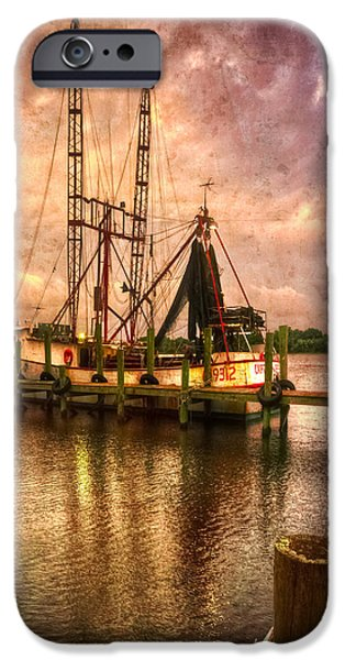 Ocean Sunset iPhone Cases - Shrimp Boat at Sunset II iPhone Case by Debra and Dave Vanderlaan