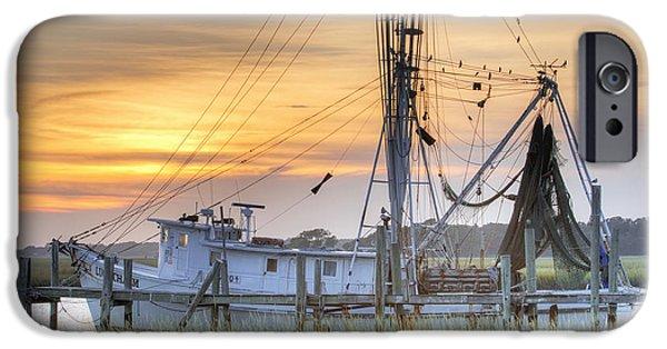 Sunset iPhone Cases - Shrimp Boat Sunset Charleston SC iPhone Case by Dustin K Ryan