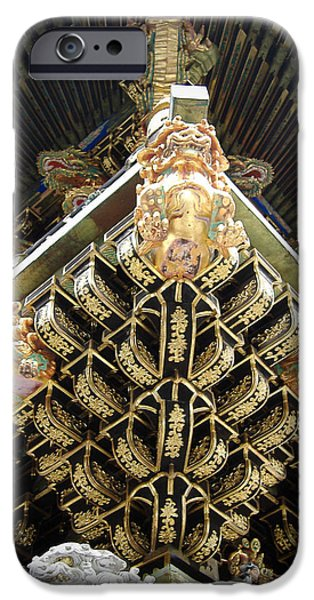 Pagoda iPhone Cases - Shrine Roof Detail iPhone Case by Naxart Studio