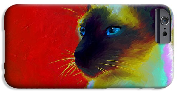 Cat Prints iPhone Cases - Siamese Cat 10 Painting iPhone Case by Svetlana Novikova