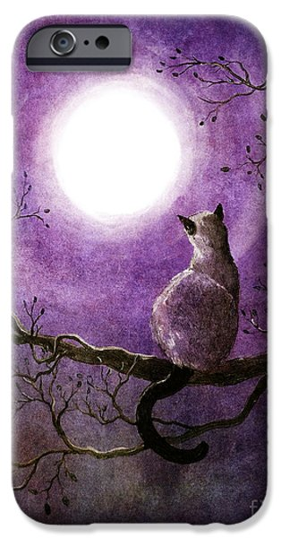 Zen Digital iPhone Cases - Siamese Cat Dreaming of Autumn iPhone Case by Laura Iverson