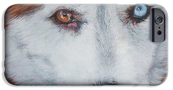 Husky iPhone Cases - Siberian husky red iPhone Case by Lee Ann Shepard