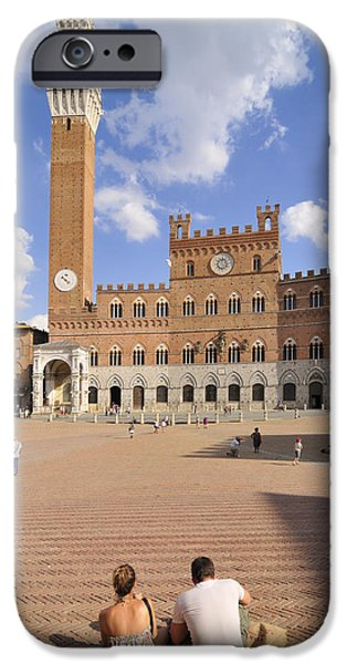 Siena Italy - Piazza del Campo with Palazzo Pubblico iPhone Case by Matthias Hauser
