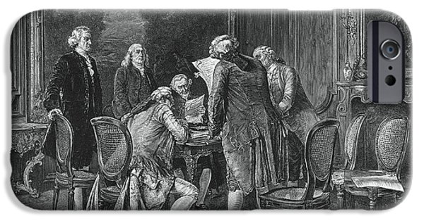 Negotiating iPhone Cases - Signing Treaty Of Peace, 1782 iPhone Case by Photo Researchers