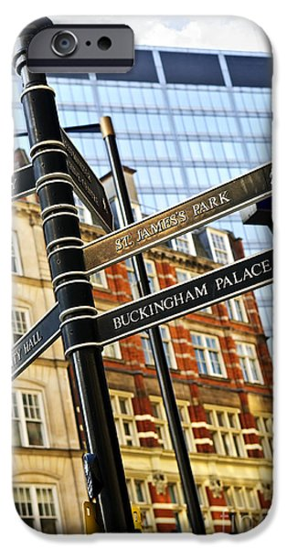 Building iPhone Cases - Signpost in London iPhone Case by Elena Elisseeva