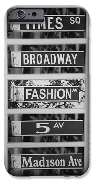 SIGNS OF NEW YORK in BLACK AND WHITE iPhone Case by ROB HANS