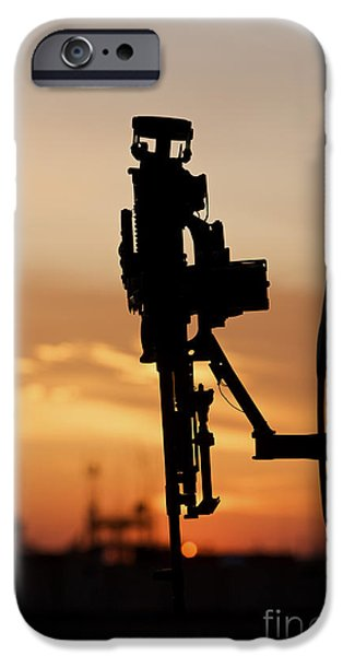 Copy Machine iPhone Cases - Silhouette Of A M240g Medium Machine iPhone Case by Terry Moore