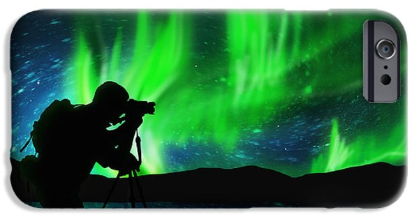 Nature Shot iPhone Cases - Silhouette Of Photographer Shooting Stars iPhone Case by Setsiri Silapasuwanchai