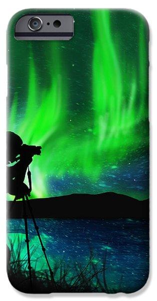 silhouette of photographer shooting stars iPhone Case by Setsiri Silapasuwanchai