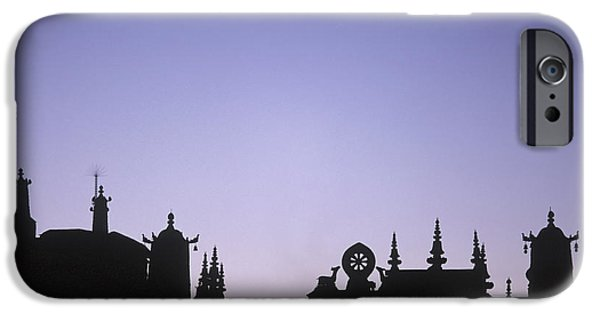 Tibetan Buddhism iPhone Cases - Silhouette Of The Front Of The Jokhang iPhone Case by Axiom Photographic