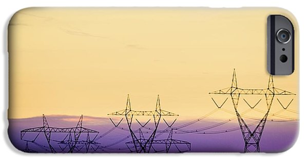 Power Industry iPhone Cases - Silhouetted Transmission Towers iPhone Case by Richard Wear