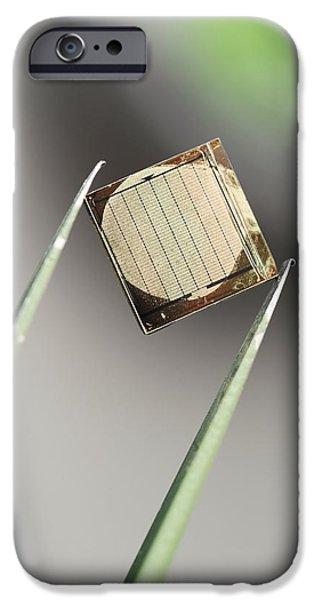 Tweezers iPhone Cases - Silicon Nanowire Device, Held By Tweezers iPhone Case by Volker Steger