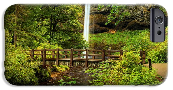 State Parks In Oregon iPhone Cases - Silver Falls Bridge iPhone Case by Adam Jewell