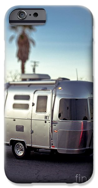 Asphalt iPhone Cases - Silver Travel Trailer iPhone Case by Eddy Joaquim