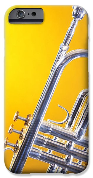 Music Photographs iPhone Cases - Silver Trumpet Isolated On Yellow iPhone Case by M K  Miller