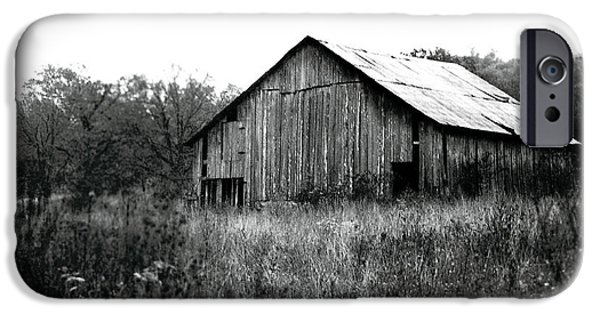 Old Barns iPhone Cases - Silvery Vintage Barn iPhone Case by Rebecca Brittain