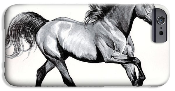 Drawing Of A Horse iPhone Cases - Simplicity of Loping iPhone Case by Cheryl Poland
