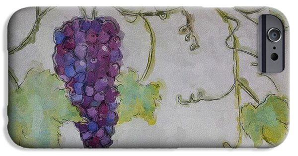 Digital Watercolor Paintings iPhone Cases - Simply Grape iPhone Case by Heidi Smith