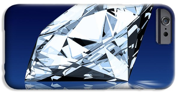 Wealth iPhone Cases - Single Blue Diamond iPhone Case by Setsiri Silapasuwanchai