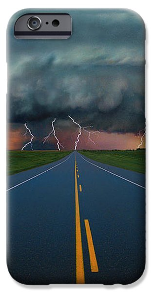 Single Lane Road Leading To Storm Cloud iPhone Case by Don Hammond