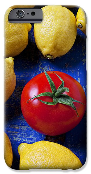 Single tomato with lemons iPhone Case by Garry Gay