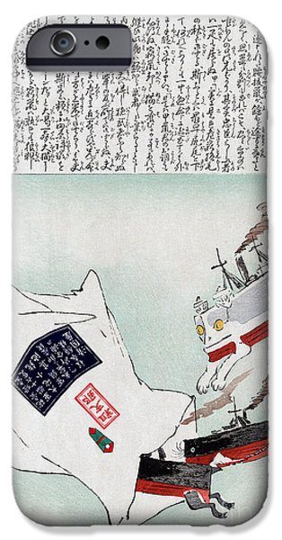 Political Allegory iPhone Cases - Sino-japanese War, 1895 iPhone Case by Granger