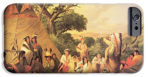 Friends Meeting iPhone Cases - Sioux Indian Council iPhone Case by Captain Seth Eastman