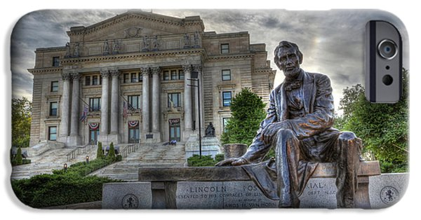 Oil Stain iPhone Cases - Sit With Me - Seated Lincoln Memorial by Gutzon Borglum  iPhone Case by Lee Dos Santos