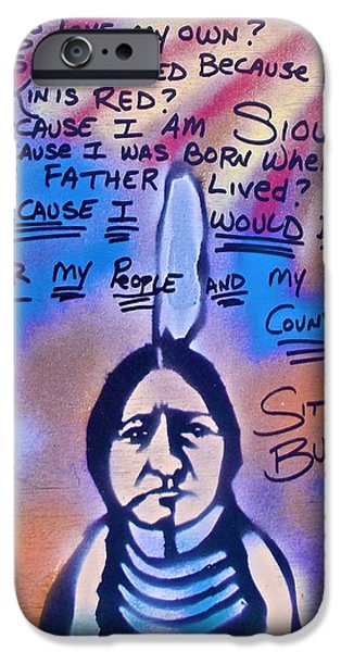 Conservative Paintings iPhone Cases - Sitting Bull...country iPhone Case by Tony B Conscious