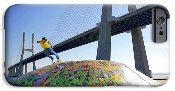 Attitude iPhone Cases - Skate Under Bridge iPhone Case by Carlos Caetano