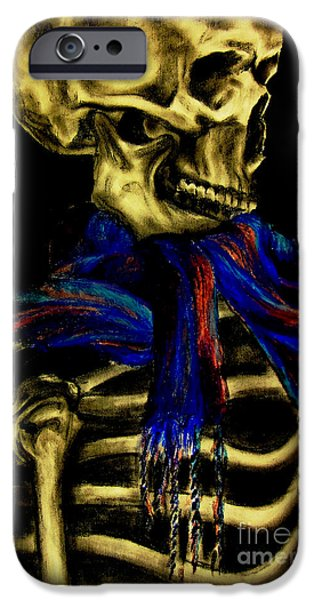 Creepy Pastels iPhone Cases - Skeleton Fashion Victim iPhone Case by Tylir Wisdom