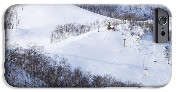 Wintertime iPhone Cases - Ski Slope with Chairlift iPhone Case by Jeremy Woodhouse