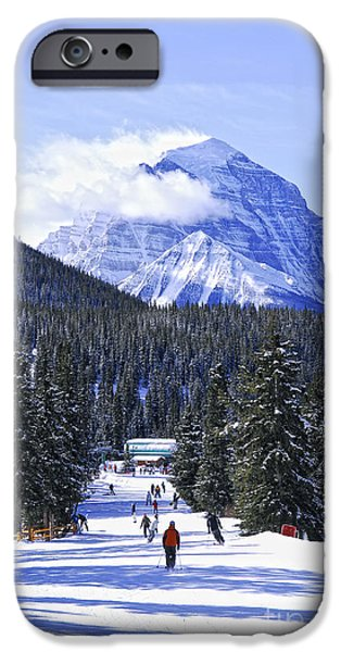 Skiing iPhone Cases - Skiing in mountains iPhone Case by Elena Elisseeva