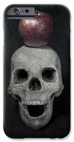 Creepy iPhone Cases - Skull And Apple iPhone Case by Joana Kruse
