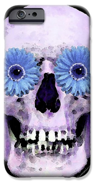 Strange iPhone Cases - Skull Art - Day Of The Dead 3 iPhone Case by Sharon Cummings