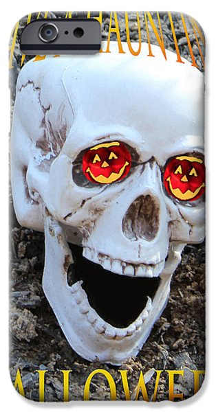 SKULL HALLOWEEN CARD iPhone Case by Debra     Vatalaro