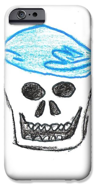 Skull in Blue Bandanna iPhone Case by Jeannie Atwater Jordan Allen