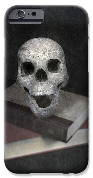 Creepy iPhone Cases - Skull On Books iPhone Case by Joana Kruse