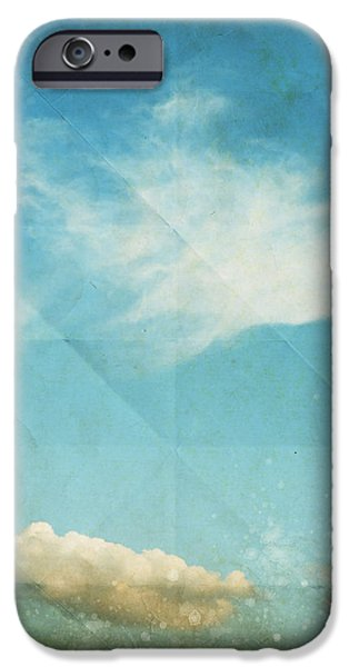 Torn Mixed Media iPhone Cases - Sky And Cloud On Old Grunge Paper iPhone Case by Setsiri Silapasuwanchai