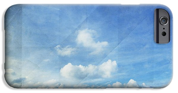 Torn iPhone Cases - Sky And Cloud On Old Paper iPhone Case by Setsiri Silapasuwanchai
