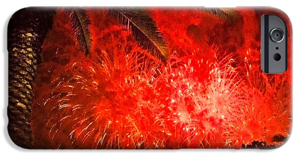 4th Of July iPhone Cases - Sky Fire iPhone Case by Debra and Dave Vanderlaan