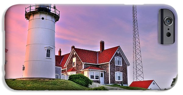 Cape Cod Lighthouses iPhone Cases - Sky of Passion - Nobska Lighthouse iPhone Case by Thomas Schoeller