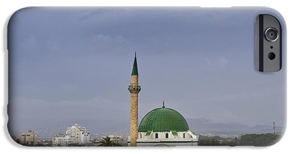 East Village iPhone Cases - Skyline of Acre and the Jezzar Pasha Mosque iPhone Case by Noam Armonn