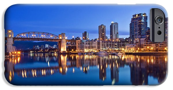 Man Made Space iPhone Cases - Skyline Reflected In False Creek. The iPhone Case by Rob Tilley