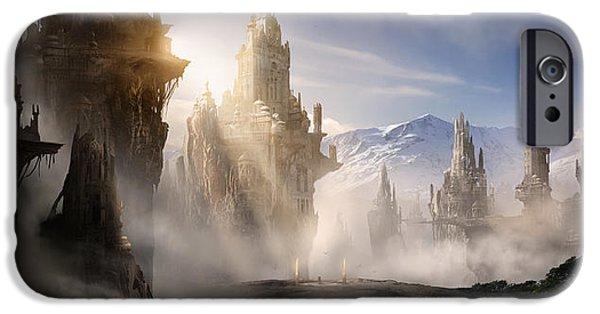 Concept Digital Art iPhone Cases - Skyrim Fantasy Ruins iPhone Case by Alex Ruiz