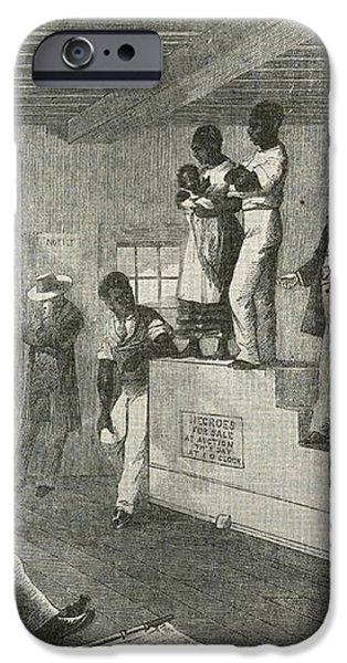 Slave Auction, 1861 iPhone Case by Photo Researchers