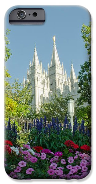 SLC Temple Flowers iPhone Case by La Rae  Roberts