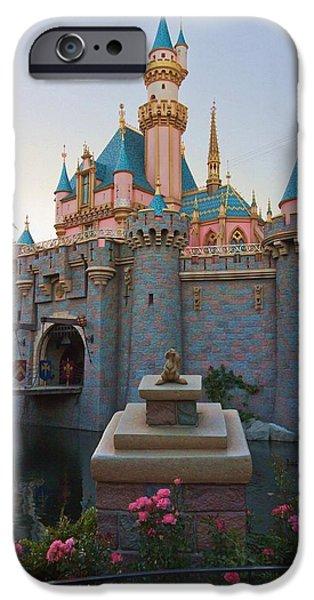 Little Girl iPhone Cases - Sleeping Beautys Castle Reflection Lake Disneyland iPhone Case by Heidi Smith