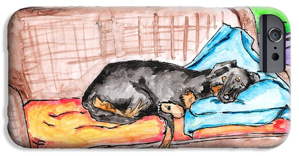 Rottweiler Puppy iPhone Cases - Sleeping Rottweiler Dog iPhone Case by Jera Sky