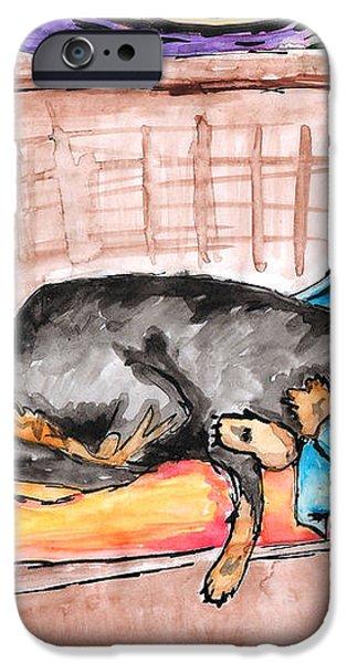Sleeping Rottweiler Dog iPhone Case by Jera Sky
